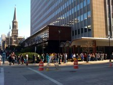 The line outside Ziedler Hall in downtown Milwaukee wraps around the block!