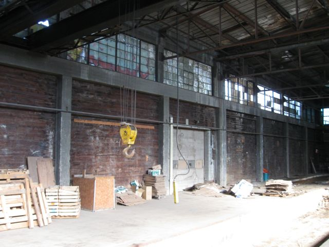 Dark and depressing interior photo of the old factory