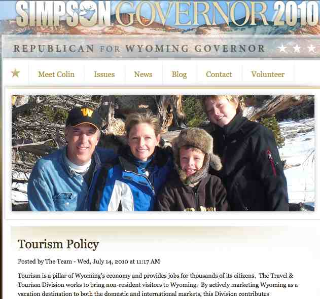 Simpson for Governor web site screen shot