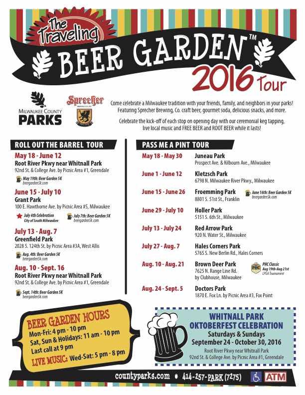2016 Milwaukee County Parks Traveling Beer Gardens Schedule Haas414